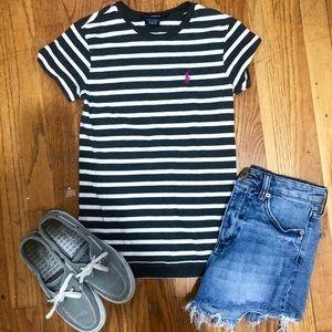 Ralph Lauren Grey & White Striped T Shirt-xs